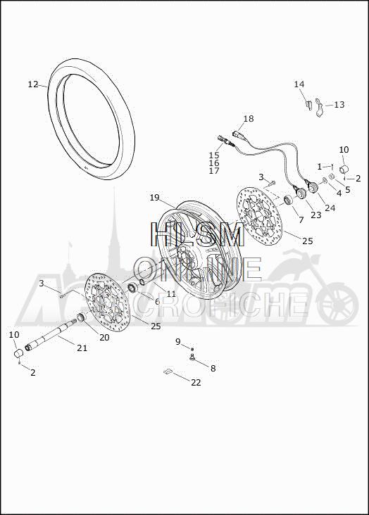 Запчасти для Мотоцикла Harley-Davidson 2019 FLHTCUTG TRI GLIDE ULTRA (MA) Раздел: WHEEL - FRONT   переднее колесо