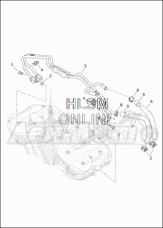 Запчасти для Мотоцикла Harley-Davidson 2019 FLHTK ULTRA LIMITED (KE) Раздел: COOLING SYSTEM - ENGINE LINES   система охлаждения двигатель магистрали