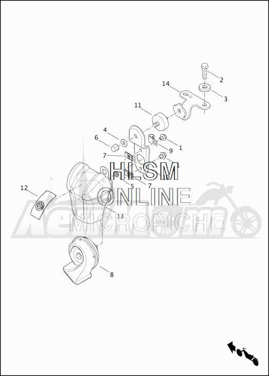 Запчасти для Мотоцикла Harley-Davidson 2019 FLHTK ULTRA LIMITED (KE) Раздел: HORN ASSEMBLY   звуковой сигнал, гудок в сборе