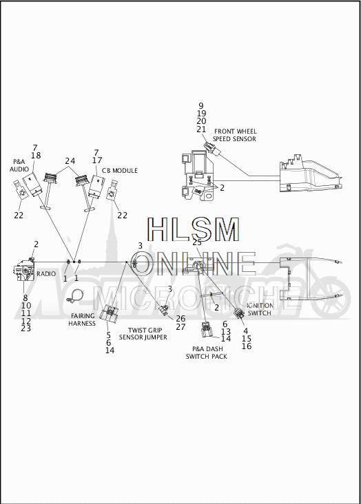 Запчасти для Мотоцикла Harley-Davidson 2019 FLHTKL ULTRA LIMITED LOW (KK) Раздел: WIRING HARNESS_MAIN - ABS - 2 | электропроводка главный жгут ABS 2