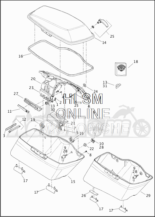 Запчасти для Мотоцикла Harley-Davidson 2019 FLHTKL ULTRA LIMITED LOW (KK) Раздел: SADDLEBAG ASSEMBLY | седельная сумка в сборе