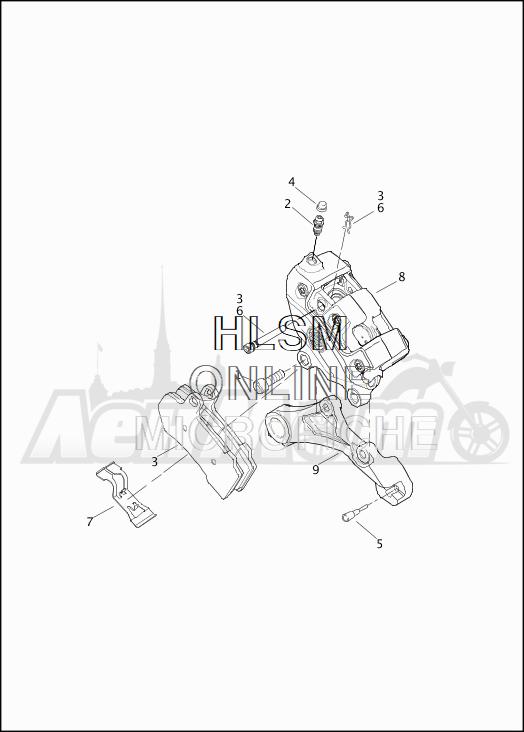 Запчасти для Мотоцикла Harley-Davidson 2019 FLHTKSE CVO LIMITED MILWAUKEE EIGHT (TE) Раздел: BRAKE - REAR BRAKE CALIPER ASSEMBLY | задний тормоз тормозной суппорт в сборе