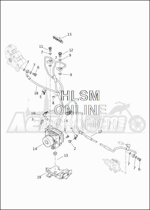 Запчасти для Мотоцикла Harley-Davidson 2019 FLHTKSE CVO LIMITED MILWAUKEE EIGHT (TE) Раздел: BRAKE - REAR LINES W/MODULE (ABS) | задний тормоз магистрали вместе с модуль (ABS)