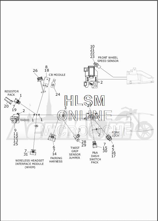 Запчасти для Мотоцикла Harley-Davidson 2019 FLHTKSE CVO LIMITED MILWAUKEE EIGHT (TE) Раздел: ELECTRICAL - MAIN WIRING HARNESS - 2 | электрика главный электропроводка коса 2