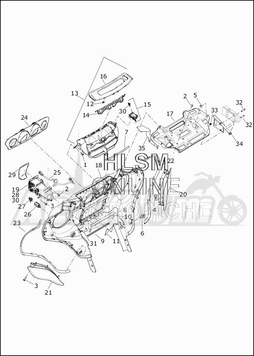 Запчасти для Мотоцикла Harley-Davidson 2019 FLHTKSE CVO LIMITED MILWAUKEE EIGHT (TE) Раздел: FAIRING_INNER - 1 | обтекатель внутренний 1