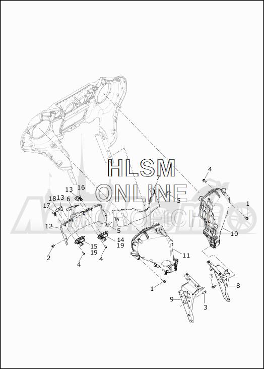 Запчасти для Мотоцикла Harley-Davidson 2019 FLHTKSE CVO LIMITED MILWAUKEE EIGHT (TE) Раздел: FAIRING_INNER - 2 | обтекатель внутренний 2