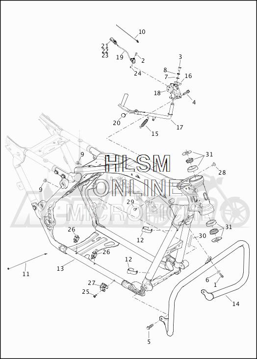 Запчасти для Мотоцикла Harley-Davidson 2019 FLHTKSE CVO LIMITED MILWAUKEE EIGHT (TE) Раздел: FRAME ASSEMBLY W/JIFFY STAND | рама в сборе вместе с боковая подставка