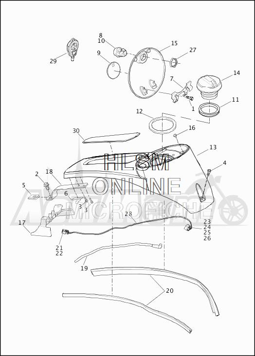 Запчасти для Мотоцикла Harley-Davidson 2019 FLHTKSE CVO LIMITED MILWAUKEE EIGHT (TE) Раздел: FUEL TANK CONSOLE ASSEMBLY | топливный бак консоль в сборе