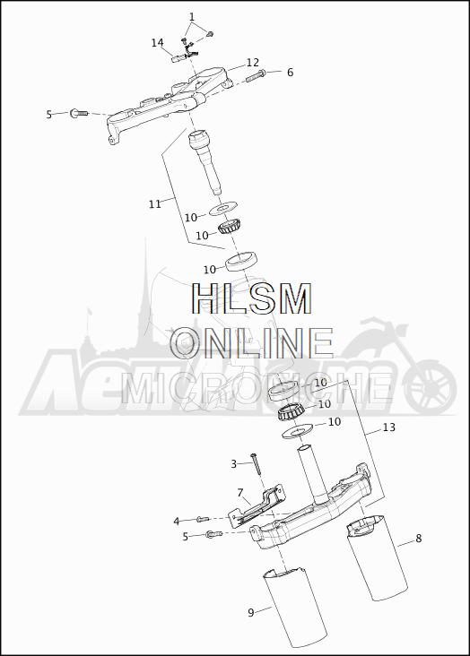 Запчасти для Мотоцикла Harley-Davidson 2019 FLHTKSE CVO LIMITED MILWAUKEE EIGHT (TE) Раздел: SUSPENSION - FRONT FORK BRACKETS | передняя подвеска вилка кронштейны
