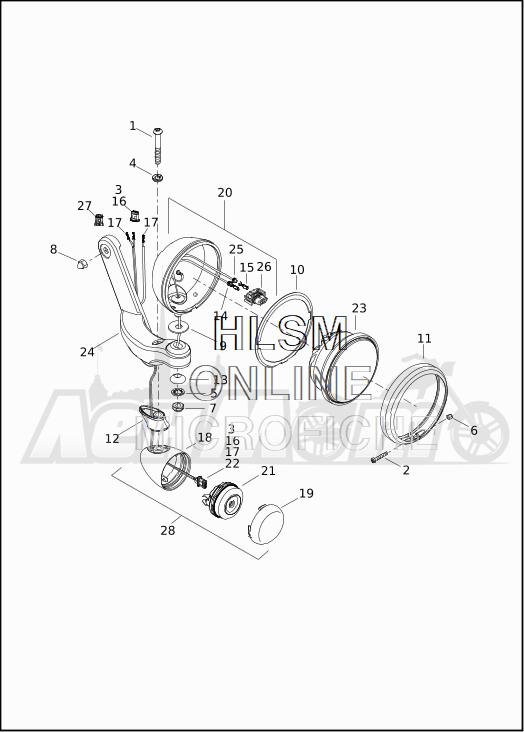 Запчасти для Мотоцикла Harley-Davidson 2019 FLHTKSE CVO LIMITED MILWAUKEE EIGHT (TE) Раздел: TURN SIGNALS - AUXILIARY FOG LAMPS - FRONT | сигналы поворота вспомогательный противотуманные фары перед