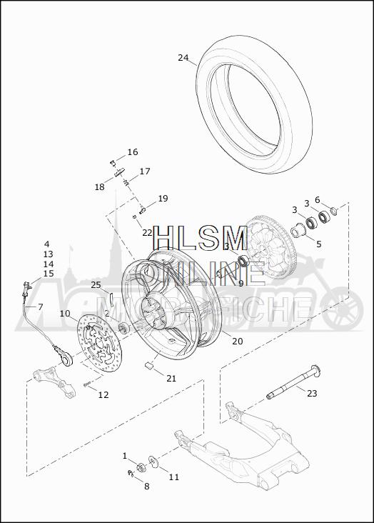 Запчасти для Мотоцикла Harley-Davidson 2019 FLHTKSE CVO LIMITED MILWAUKEE EIGHT (TE) Раздел: WHEEL - REAR | заднее колесо