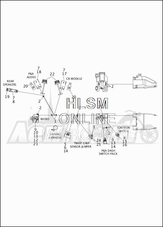 Запчасти для Мотоцикла Harley-Davidson 2019 FLHX STREET GLIDE (KB) Раздел: WIRING HARNESS_MAIN - NON ABS - 2 | электропроводка главный жгут не ABS 2