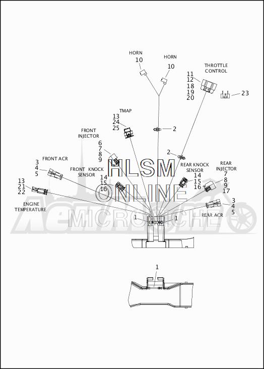 Запчасти для Мотоцикла Harley-Davidson 2019 FLHX STREET GLIDE (KB) Раздел: WIRING HARNESS_MAIN - NON ABS - 3 | электропроводка главный жгут не ABS 3