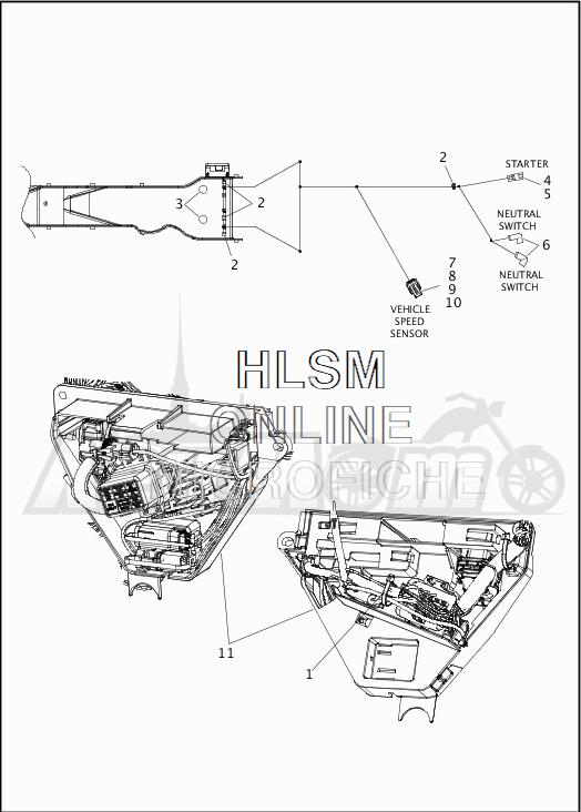 Запчасти для Мотоцикла Harley-Davidson 2019 FLHX STREET GLIDE (KB) Раздел: WIRING HARNESS_MAIN - NON-ABS - 6 | электропроводка главный жгут не ABS 6