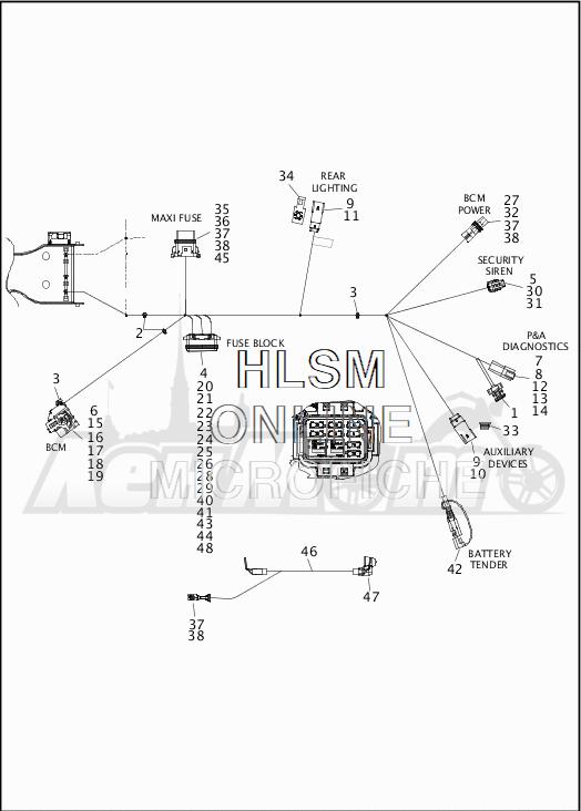 Запчасти для Мотоцикла Harley-Davidson 2019 FLHX STREET GLIDE (KB) Раздел: WIRING HARNESS_MAIN - NON-ABS - 8 | электропроводка главный жгут не ABS 8