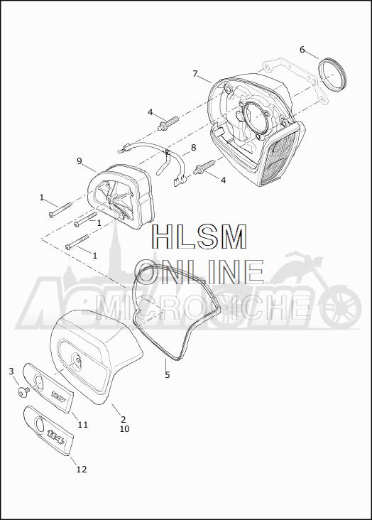 Запчасти для Мотоцикла Harley-Davidson 2019 FLHX STREET GLIDE (KB) Раздел: AIR CLEANER ASSEMBLY | очиститель воздуха в сборе