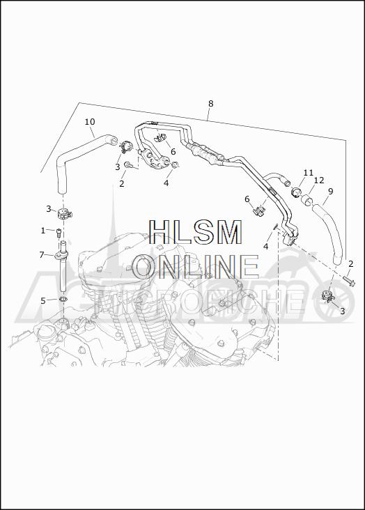 Запчасти для Мотоцикла Harley-Davidson 2019 FLHX STREET GLIDE (KB) Раздел: COOLING SYSTEM - ENGINE LINES | система охлаждения двигатель магистрали