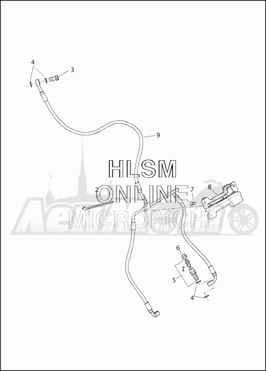 Запчасти для Мотоцикла Harley-Davidson 2019 FLHX STREET GLIDE (KB) Раздел: BRAKE - FRONT LINE (NON-ABS) | передний тормоз магистраль (не ABS)