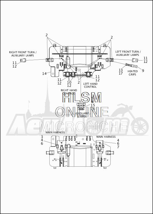 Запчасти для Мотоцикла Harley-Davidson 2019 FLHX STREET GLIDE (KB) Раздел: ELECTRICAL - FAIRING WIRING HARNESS - 1 | электрика обтекатель электропроводка коса 1