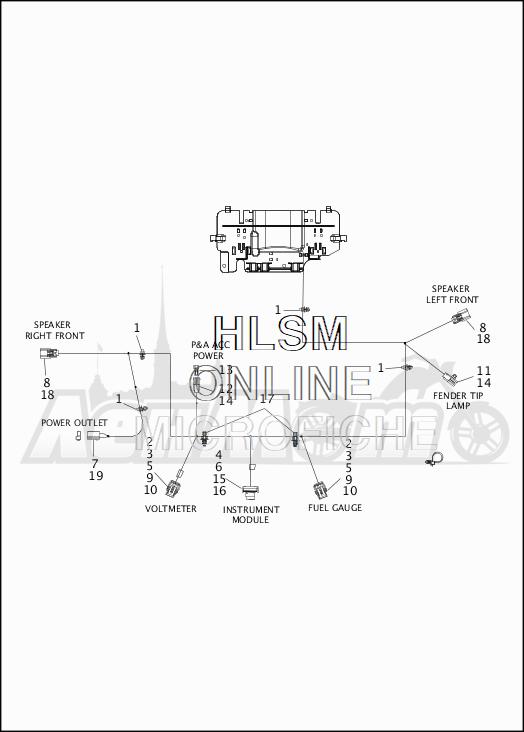 Запчасти для Мотоцикла Harley-Davidson 2019 FLHX STREET GLIDE (KB) Раздел: ELECTRICAL - FAIRING WIRING HARNESS - 2 | электрика обтекатель электропроводка коса 2