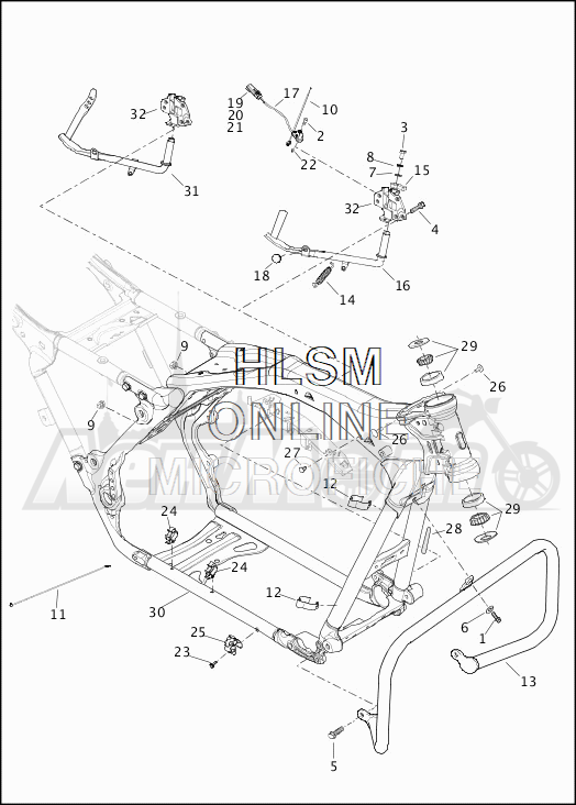 Запчасти для Мотоцикла Harley-Davidson 2019 FLHX STREET GLIDE (KB) Раздел: FRAME ASSEMBLY W/JIFFY STAND | рама в сборе вместе с боковая подставка
