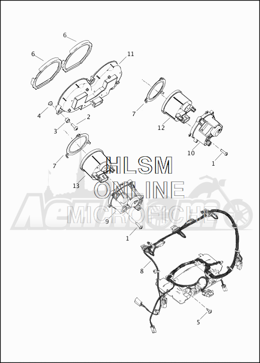 Запчасти для Мотоцикла Harley-Davidson 2019 FLHX STREET GLIDE (KB) Раздел: FUEL TANK - INSTRUMENTS | топливный бак приборы