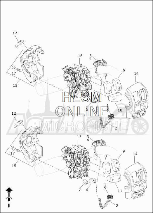 Запчасти для Мотоцикла Harley-Davidson 2019 FLHX STREET GLIDE (KB) Раздел: HANDLEBAR SWITCHES - LEFT HAND | руль выключатели, переключатели левая рука