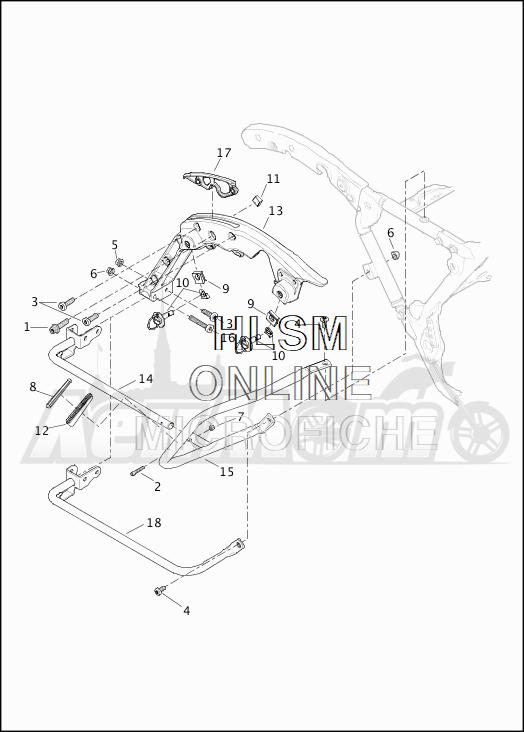 Запчасти для Мотоцикла Harley-Davidson 2019 FLHX STREET GLIDE (KB) Раздел: SADDLEBAG - GUARDS | седельная сумка защита