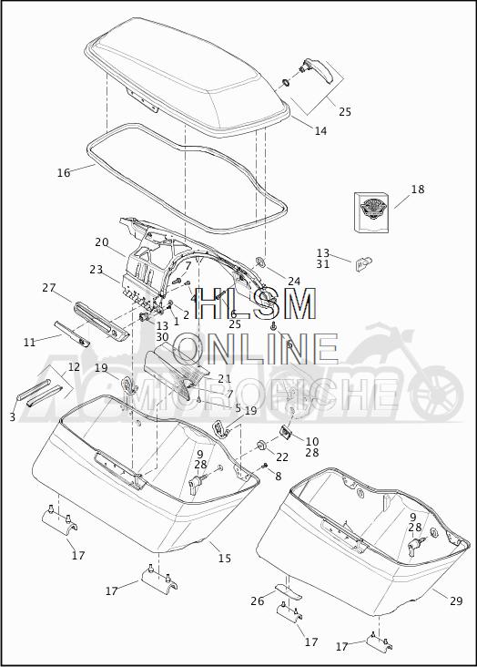 Запчасти для Мотоцикла Harley-Davidson 2019 FLHX STREET GLIDE (KB) Раздел: SADDLEBAG ASSEMBLY | седельная сумка в сборе