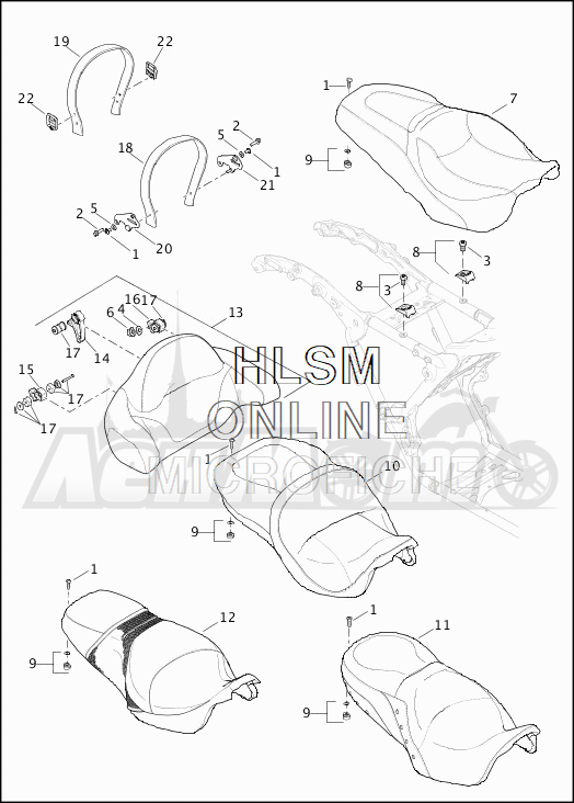 Запчасти для Мотоцикла Harley-Davidson 2019 FLHX STREET GLIDE (KB) Раздел: SEAT ASSEMBLY W/BACKREST | сиденье в сборе вместе с спинка