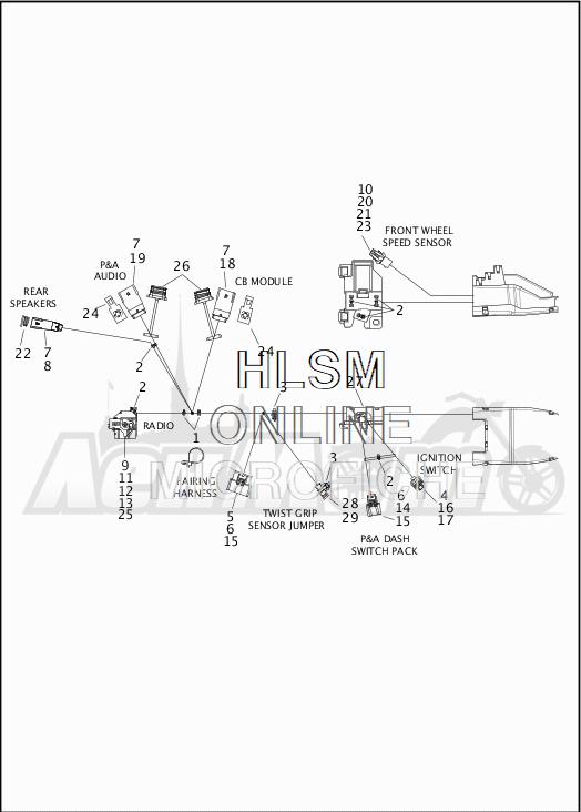 Запчасти для Мотоцикла Harley-Davidson 2019 FLHXS STREET GLIDE SPECIAL (KR) Раздел: WIRING HARNESS_MAIN - ABS - 2 | электропроводка главный жгут ABS 2