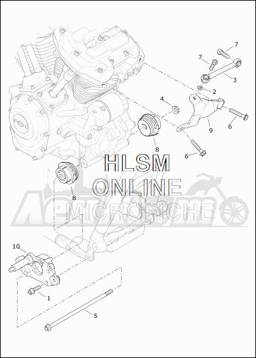 Запчасти для Мотоцикла Harley-Davidson 2019 FLHXS STREET GLIDE SPECIAL (KR) Раздел: ENGINE MOUNTS W/STABILIZER LINK | опоры двигателя вместе с стабилизатор