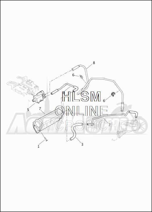 Запчасти для Мотоцикла Harley-Davidson 2019 FLHXS STREET GLIDE SPECIAL (KR) Раздел: EVAPORATIVE EMISSIONS COMPONENTS | испаритель выбросов компоненты