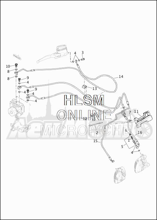 Запчасти для Мотоцикла Harley-Davidson 2019 FLHXS STREET GLIDE SPECIAL (KR) Раздел: BRAKE - FRONT LINE (ABS) | передний тормоз магистраль (ABS)