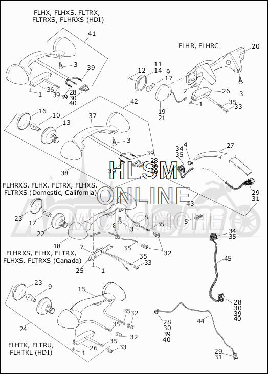 Запчасти для Мотоцикла Harley-Davidson 2019 FLHXS STREET GLIDE SPECIAL (KR) Раздел: TAIL LAMP W/REAR TURN SIGNALS | TAIL лампа вместе с зад сигналы поворота