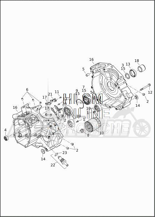 Запчасти для Мотоцикла Harley-Davidson 2019 FLHXSE CVO STREET GLIDE (PX) Раздел: CRANKCASE ASSEMBLY | картер в сборе
