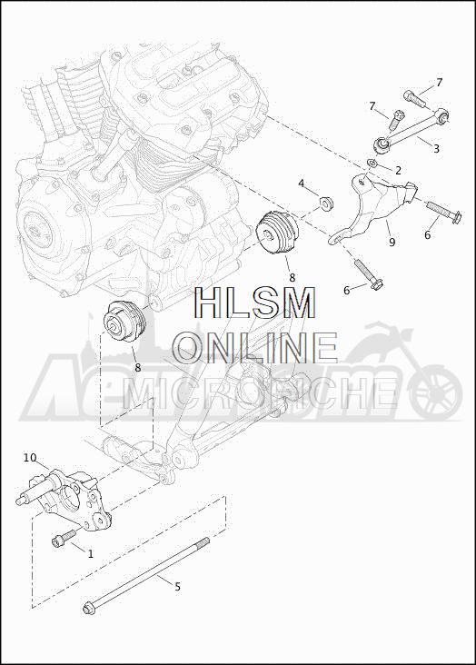 Запчасти для Мотоцикла Harley-Davidson 2019 FLHXSE CVO STREET GLIDE (PX) Раздел: ENGINE MOUNTS W/STABILIZER LINK | опоры двигателя вместе с стабилизатор