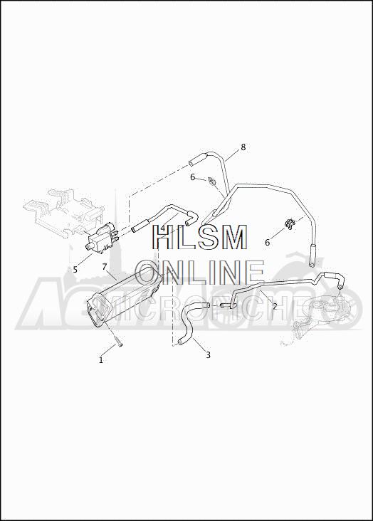 Запчасти для Мотоцикла Harley-Davidson 2019 FLHXSE CVO STREET GLIDE (PX) Раздел: EVAPORATIVE EMISSIONS COMPONENTS | испаритель выбросов компоненты