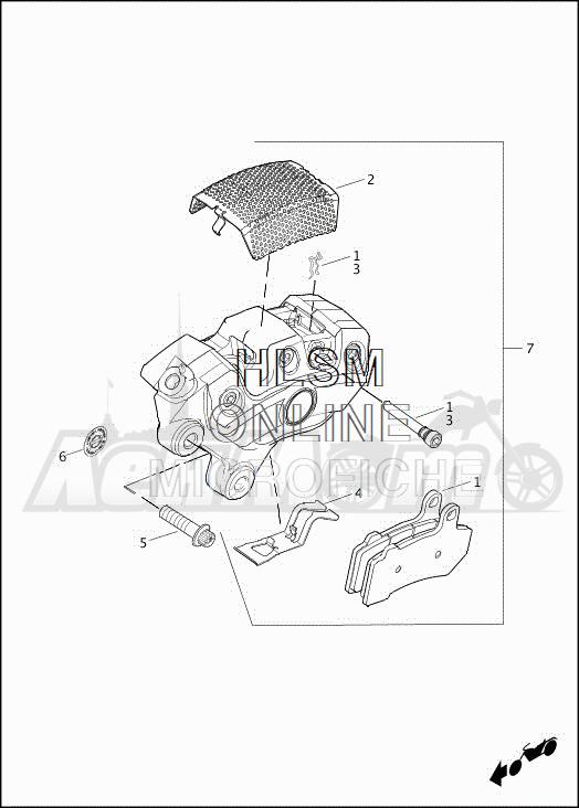 Запчасти для Мотоцикла Harley-Davidson 2019 FLHXSE CVO STREET GLIDE (PX) Раздел: BRAKE - FRONT BRAKE CALIPER ASSEMBLY | передний тормоз тормозной суппорт в сборе
