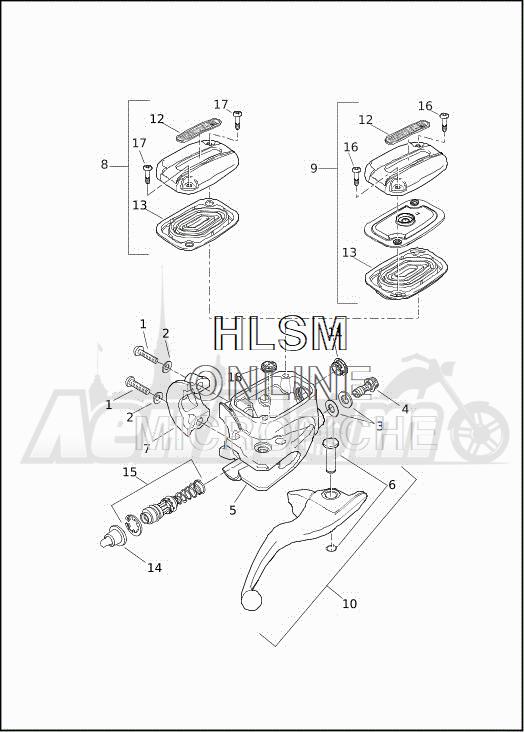 Запчасти для Мотоцикла Harley-Davidson 2019 FLHXSE CVO STREET GLIDE (PX) Раздел: BRAKE - FRONT BRAKE CYLINDER ASSEMBLY W/LEVER | передний тормоз тормоза цилиндр в сборе вместе с рычаг