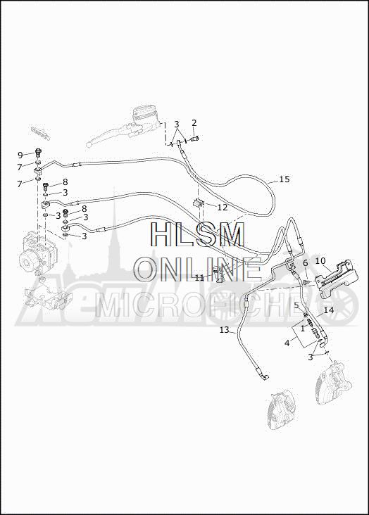 Запчасти для Мотоцикла Harley-Davidson 2019 FLHXSE CVO STREET GLIDE (PX) Раздел: BRAKE - FRONT LINE (ABS) | передний тормоз магистраль (ABS)