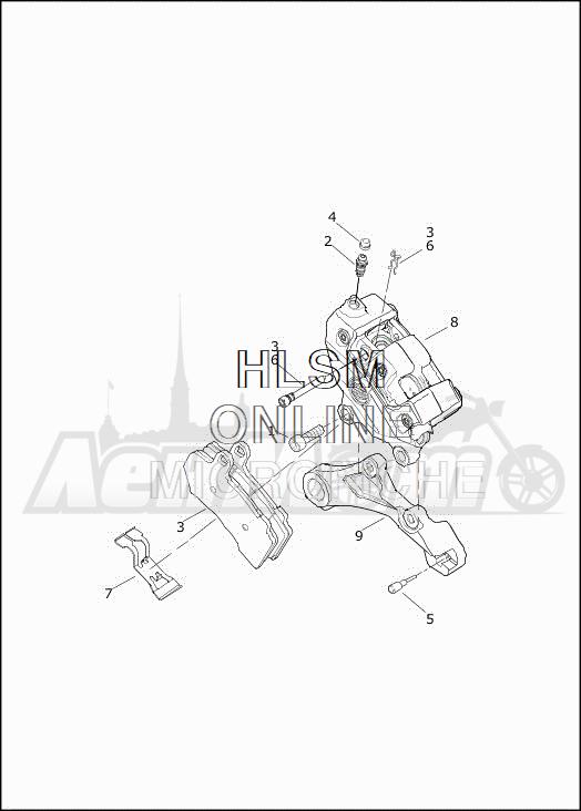 Запчасти для Мотоцикла Harley-Davidson 2019 FLHXSE CVO STREET GLIDE (PX) Раздел: BRAKE - REAR BRAKE CALIPER ASSEMBLY | задний тормоз тормозной суппорт в сборе