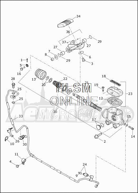 Запчасти для Мотоцикла Harley-Davidson 2019 FLHXSE CVO STREET GLIDE (PX) Раздел: BRAKE - REAR BRAKE CYLINDER W/PEDAL | задний тормоз тормоза цилиндр вместе с педаль