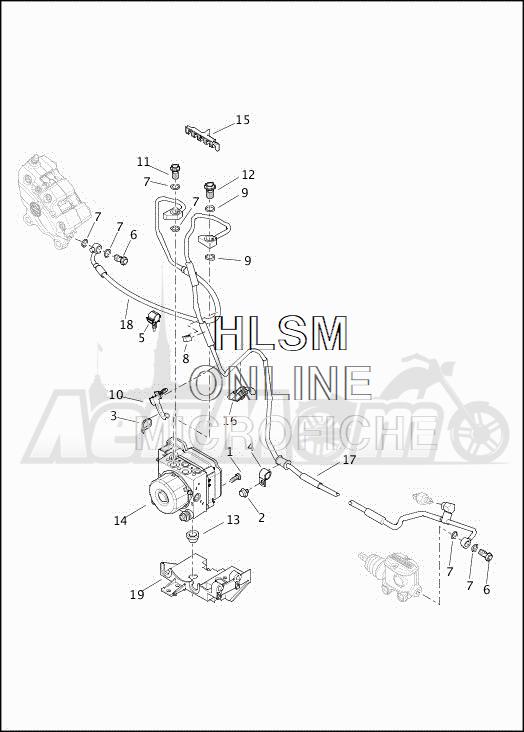 Запчасти для Мотоцикла Harley-Davidson 2019 FLHXSE CVO STREET GLIDE (PX) Раздел: BRAKE - REAR LINES W/MODULE (ABS)   задний тормоз магистрали вместе с модуль (ABS)
