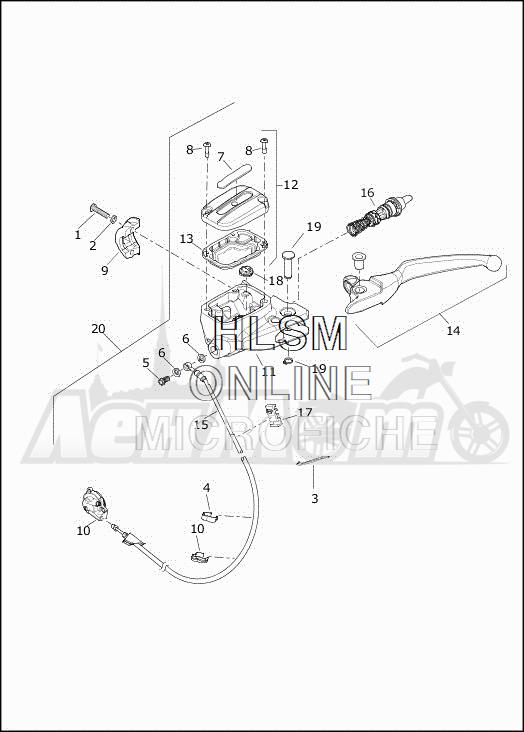 Запчасти для Мотоцикла Harley-Davidson 2019 FLHXSE CVO STREET GLIDE (PX) Раздел: CLUTCH LEVER ASSEMBLY | сцепление рычаг в сборе