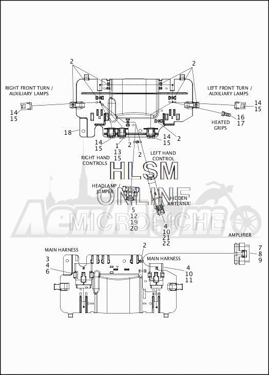 Запчасти для Мотоцикла Harley-Davidson 2019 FLHXSE CVO STREET GLIDE (PX) Раздел: ELECTRICAL - FAIRING WIRING HARNESS - 1 | электрика обтекатель электропроводка коса 1