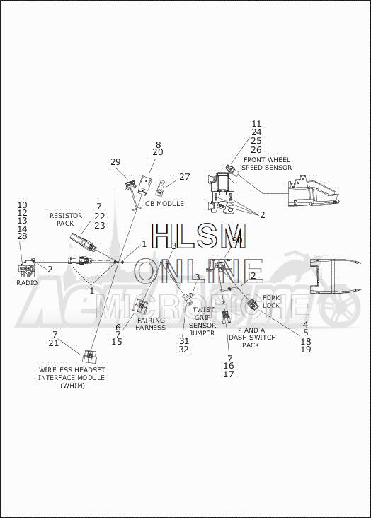 Запчасти для Мотоцикла Harley-Davidson 2019 FLHXSE CVO STREET GLIDE (PX) Раздел: ELECTRICAL - MAIN WIRING HARNESS - 2 | электрика главный электропроводка коса 2