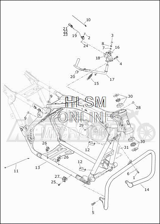 Запчасти для Мотоцикла Harley-Davidson 2019 FLHXSE CVO STREET GLIDE (PX) Раздел: FRAME ASSEMBLY W/JIFFY STAND | рама в сборе вместе с боковая подставка