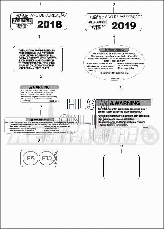 Запчасти для Мотоцикла Harley-Davidson 2019 FLHXSE CVO STREET GLIDE (PX) Раздел: GENERAL AND WARNING LABELS | общий и предупреждение этикетки, метки