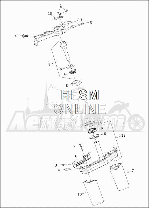 Запчасти для Мотоцикла Harley-Davidson 2019 FLHXSE CVO STREET GLIDE (PX) Раздел: SUSPENSION - FRONT FORK BRACKETS | передняя подвеска вилка кронштейны